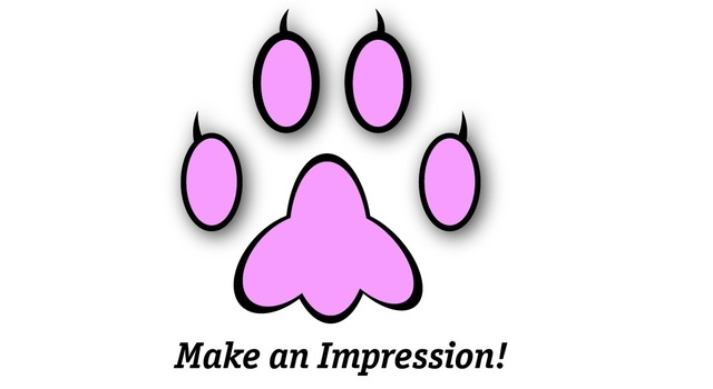 Paw print black and pink small